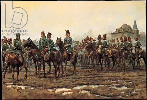 The Rear Guard: 11th Hussars in Germany - 1796, 1998 (oil on linen)