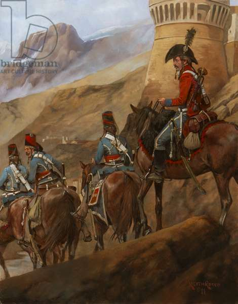French Cavalry Passing the Castle at Roverdo, 1796, 2011 (oil on board)