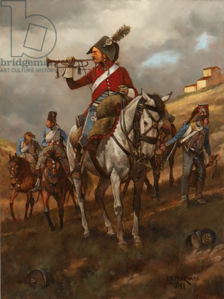 French Trumpeter, 1st Hussar Regiment, 1796, 2011 (oil on board)