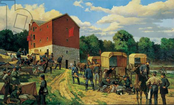 Island of Mercy: The Pry Mill at Antietam 1862, 1994 (oil on linen)