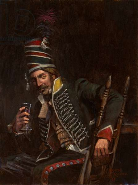 The Veteran, French Trooper 24th Chasseurs a Cheval, 1796, 2011 (oil on board)