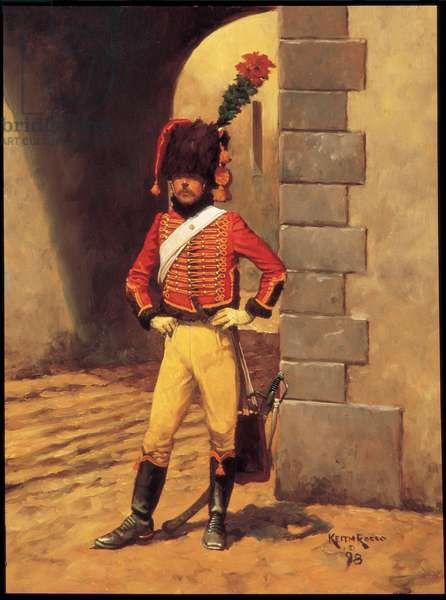 Chasseur a Cheval of the Old Guard 1814, 1998 (oil on board)