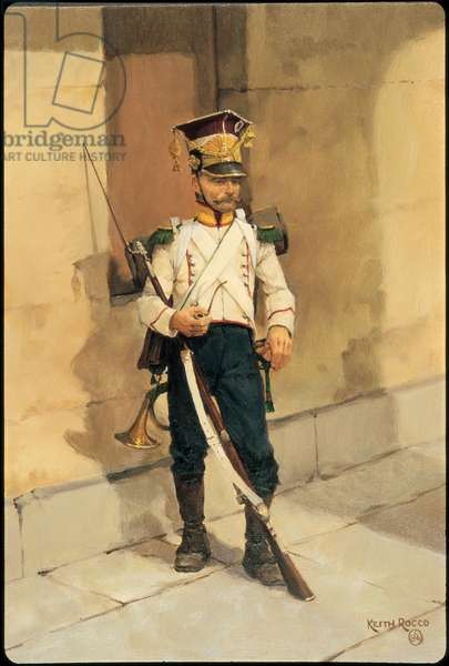 Hornist: Voltigeur Company, 16th Grand Duchy of Warsaw Infantry Regiment 1810, 1986 (oil on board)