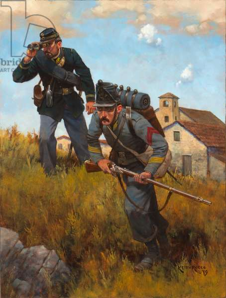 Cacciatori Officer and Chasseur 1860, 2019 (oil on board)
