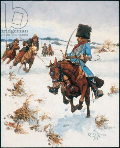 Officer: 1st Hussars in Russia 1812, 1990 (oil on board)