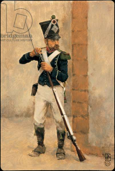 Private Chasseur: 4th Legere Infantry Regiment 1806, 1986 (oil on board)