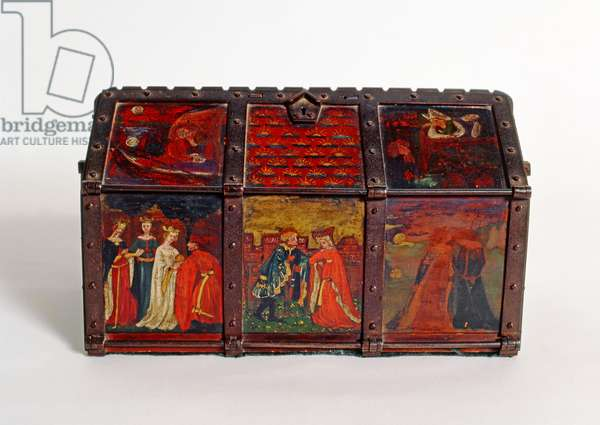Jewel casket, painted by Dante Gabriel Rossetti and Elizabeth Siddal, c.1860 (iron frame with painted wooden panels)