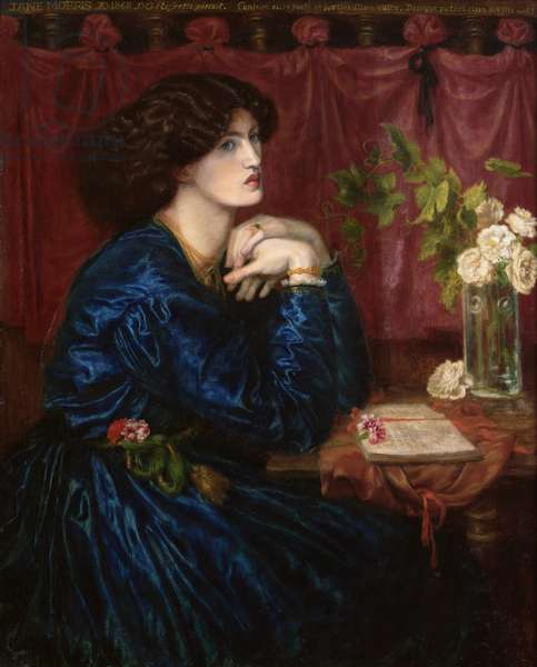 Mrs William Morris in a Blue Silk Dress, 1868 (oil on canvas) (see also 278236)