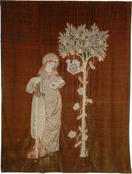 St Catherine, worked by Jane Morris (1839-1914), c.1860 (brick stitch appliqued on velvet)