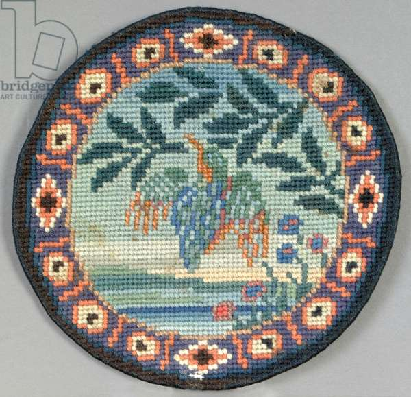 Kingfisher table mat, 1910 (embroidery)