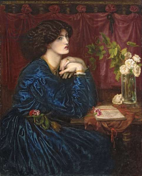 Mrs William Morris in a Blue Silk Dress, 1868 (oil on canvas) (see also 278235)