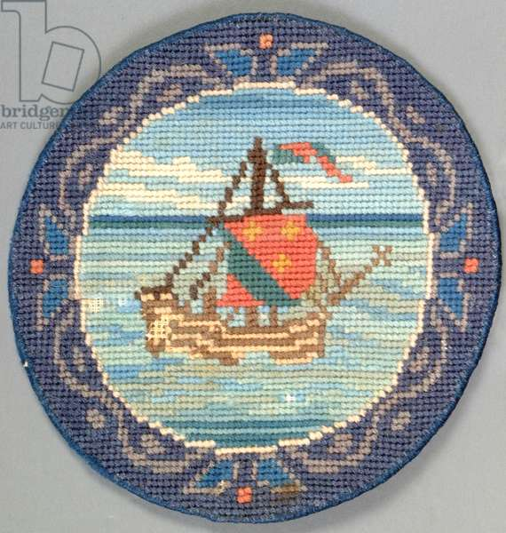 Galleon table mat, 1910 (embroidery)