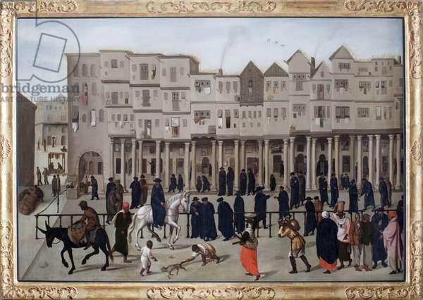 Town Scene depicting Rua Nova dos Mercadores in Lisbon, Portugal (oil on canvas)