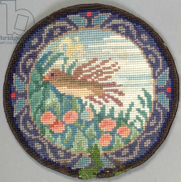Bird in flight table mat, 1910 (embroidery)