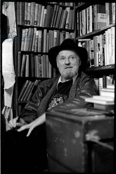 Lawrence Ferlinghetti at  Shakespeare and company bookshop, Paris, France,  1981 (b/w photo)