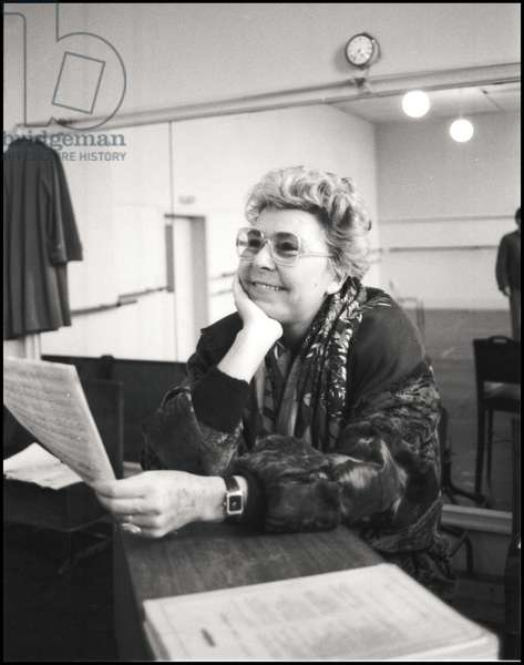 Christa Ludwig giving a master class at Opera Comique, Paris, France, 1988 (b/w photo)