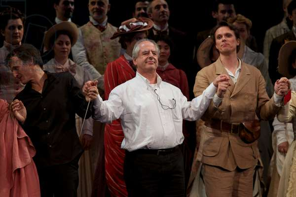 William Kentridge, Jean Christophe Spinosi and Lehtipuu at the final applause for the Magic Flute at the theatre des Champs Elysees, Paris, 2011 (photo)