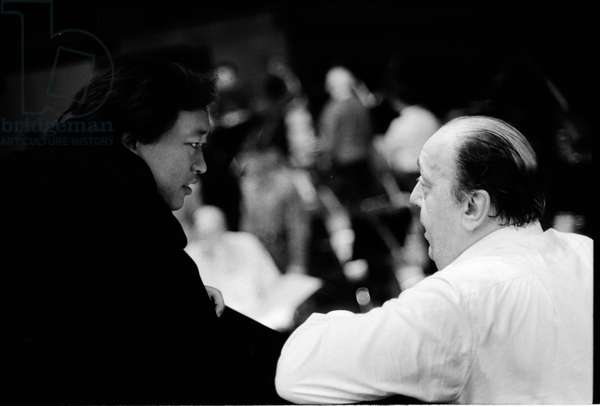 Nello Santi in the orchestra pit with Myung Wung Chung conducting at  Paris  Opera, 1991 (b/w photo)