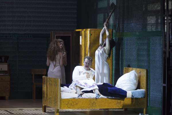 Tanja Ariane Baumgartner, Agave / Venus, Vera-Lotte Böcker, Autonoe / Proserpine and Russell Braun, Pentheus in Hans Werner Henze, The Bassarids at Salzburg Festival, 2018 (photo)
