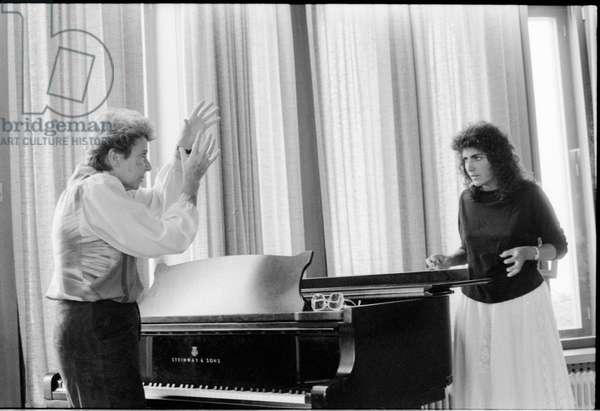 Christa Ludwig gives a master-class to student Belinda Halpern at Mozarteum, in Salzburg, Austria, 1984 (b/w photo)