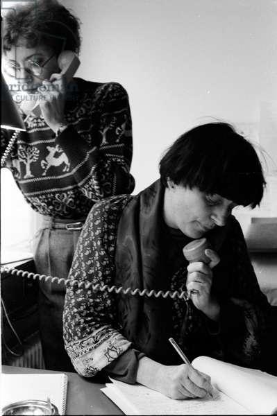Agnès Varda on the phone at home in Paris, 1977 (b/w photo)