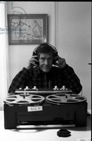 John Cage in the house of Dorothea Tanning, 1981 (b/w photo)