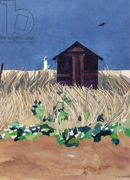Walberswick Hut and Southwold Lighthouse, Suffolk (collage with w/c on paper)