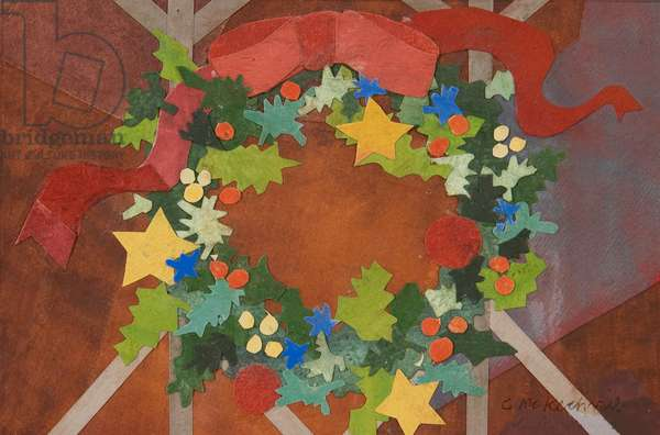 Christmas Wreath II (collage with w/c on paper)