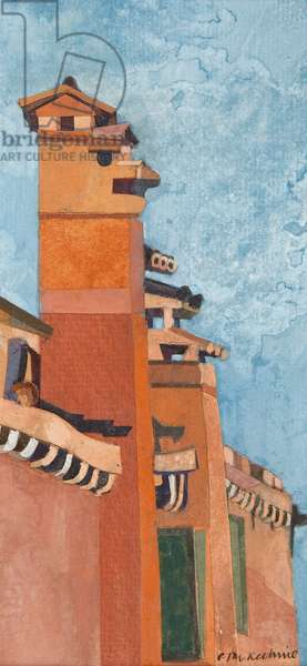 Venice Chimneys (collage with w/c on paper)