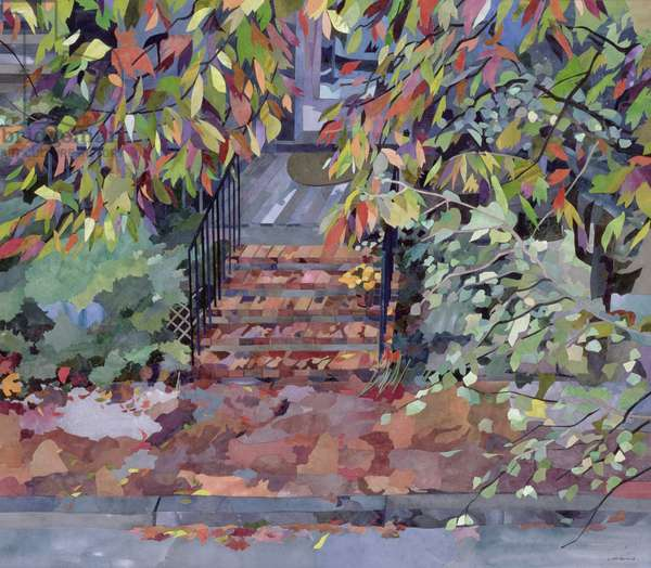 Janet's Steps, Cambridge, Massachusetts (collage with w/c on paper)