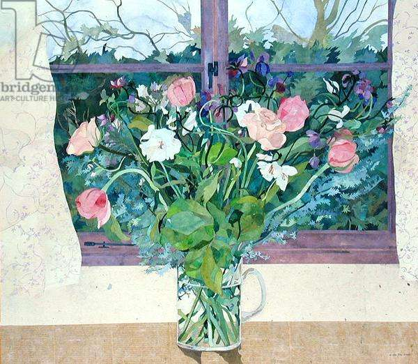 Bob and Gillian's Flowers, Cornerways, Southolt, Suffolk (collage with w/c on paper)