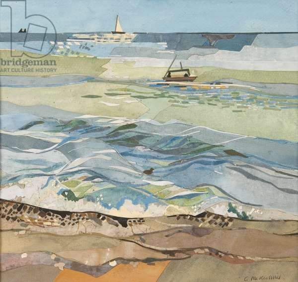 Southwold Sea View (w/c with collage on paper)