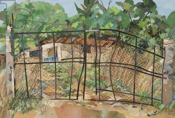 Chain Link Gates, Italy (collage with w/c on paper)