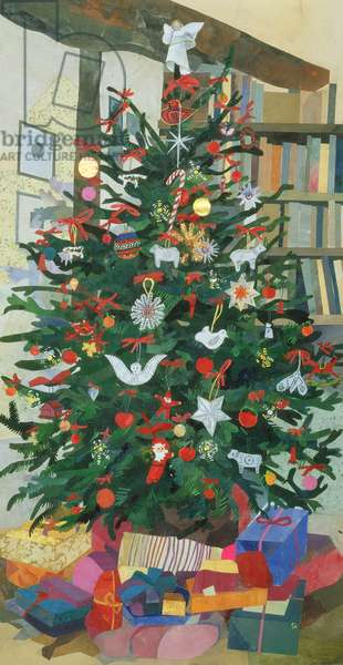 'Cornerways' Christmas Tree (collage with w/c on paper)