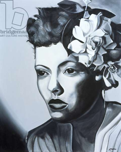 Billie Holiday (1915-59) (oil on canvas)