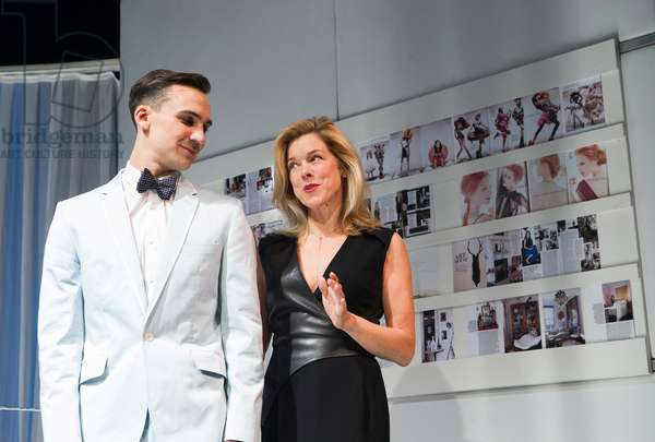 Janie Dee (Miranda) and Henry Lloyd-Hughes (Rupert) in NSFW by Lucy Kirkwood at Royal Court Theatre. Directed by Dominic Cooke. (Opening 31-10-12) (photo)