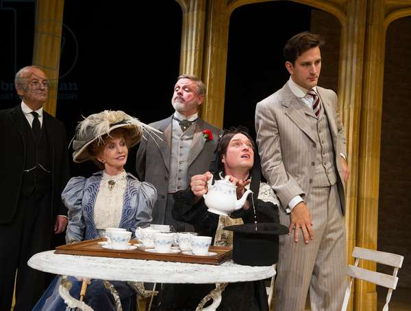 Charles Kay (Brassett), Jane Asher (Donna Lucia D'Alvadorez), Norman Pace (Stephen Spettigue), Matthew Horne (Lord Fancourt Babberley) and Dominic Tigue (Jack Chesney) in Charley's Aunt at by Brandon Thomas at Menier Chocolate Factory. (Taken 1-10-12) (photo)