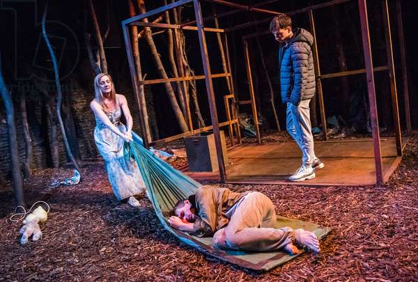 Lesley Sharp, Charles Furness and Finn Bennett in The Woods by Robert Alan Evans at Royal Court, Jerwood Theatre Upstairs, September 2018 (photo)