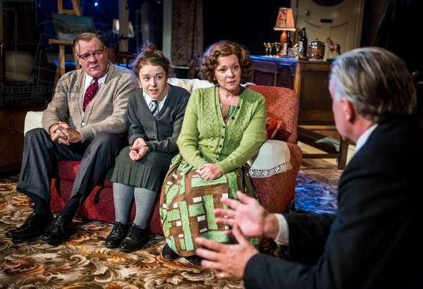 Chris Larkin (Bob Jackson), Macy Nyman (Julie Jackson), Finty Williams (Barbara Jackson) and Jasper Britton (Stewart) in Pack Of Lies by Hugh Whitemore at Menier Chocolate Factory, 2018 (photo)