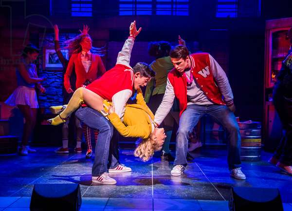 Chris Chung (Kurt Kelly), Sophie Isaacs (Heather McNamara) and Dominic Anderson (Ram Sweeny) in Heathers The Musical by Kevin Murphy and Laurence O'Keefe at Theatre Royal Haymarket, September 2018 (photo)