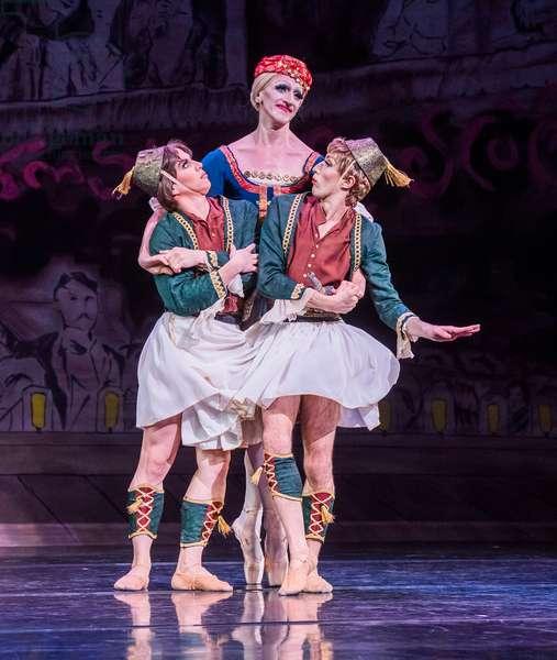 Roberto Vega, Joshua Thake and Kevin Garcia in La Trovatiara Pas De Cinq by Les Ballets Trockadero De Monte Carlo at Peacock Theatre, London, September 2018 (photo)