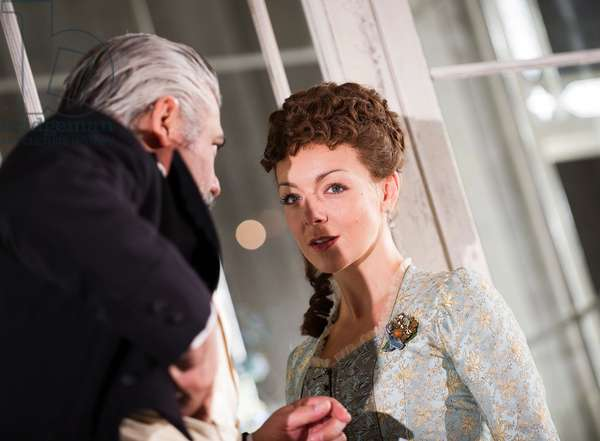 Darrell D'Silva (Judge Brack) and Sheridan Smith (Hedda Gabler) in Hedda Gabler by Henrik Ibsen at Old Vic. Directed by Anna Mackmin. (Opening 12-09-12) (photo)