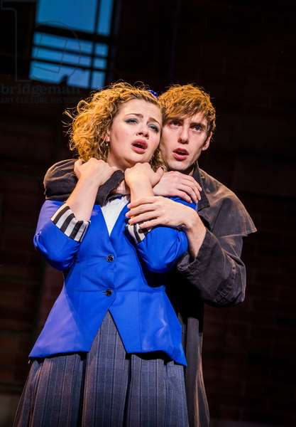 Carrie Hope Fletcher (Veronica Sawyer) and Jamie Steele (Jason Dean (JD)) in Heathers The Musical by Kevin Murphy and Laurence O'Keefe at Theatre Royal Haymarket, September 2018 (photo)