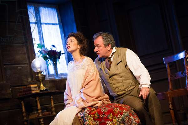 Anna Friel (Yelena) and Ken Stott (Vanya) in Uncle Vanya by Anton Chekhov at Vaudeville. directed by Lindsay Posner. Designer Christopher Oram. Translated by Christopher Hampton. (Opening 2-11-12) (photo)