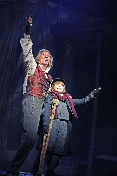 Tommy Steele (Ebenezer Scrooge) and James Tobias-Norrington (Tiny Tim) in Scrooge The Musical at London Palladium (Opening 6-11-12) (photo)