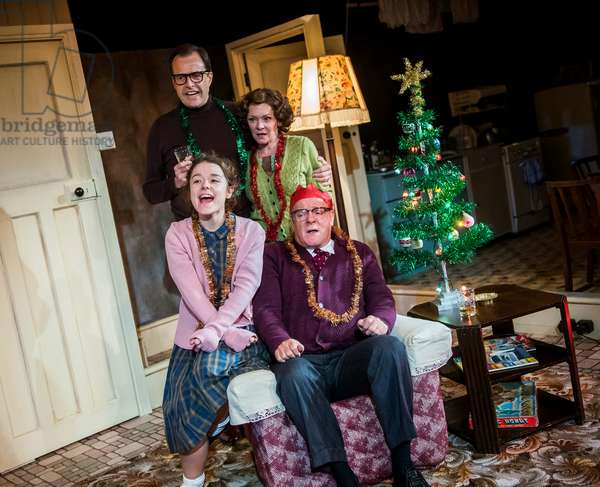 Alasdair Harvey (Peter Kroger), Macy Nyman (Julie Jackson), Finty Williams (Barbara Jackson) and Chris Larkin (Bob Jackson) in Pack Of Lies by Hugh Whitemore at Menier Chocolate Factory, 2018 (photo)