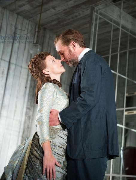 Sheridan Smith (Hedda Gabler) and Daniel Lapaine (Eilert Loevborg) in Hedda Gabler by Henrik Ibsen at Old Vic. Directed by Anna Mackmin. (Opening 12-09-12) (photo)