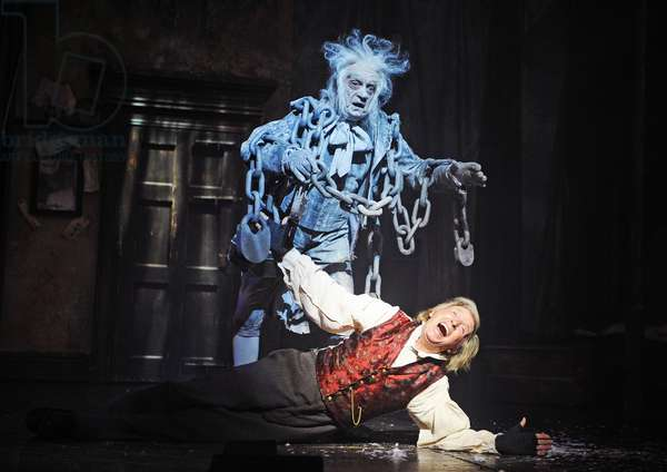 Barry Howard (Jacob Marley) and Tommy Steele (Ebenezer Scrooge) in Scrooge The Musical at London Palladium (Opening 6-11-12) (photo)