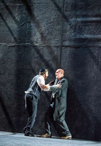 Collin Shay (Yoel) and Steven Page (Stranger) in Mamzer-Bastard by The Royal Opera, Hackney Empire, June 2018 (photo)