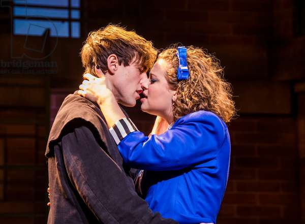 Jamie Steele (Jason Dean (JD)) and Carrie Hope Fletcher (Veronica Sawyer) in Heathers The Musical by Kevin Murphy and Laurence O'Keefe at Theatre Royal Haymarket, September 2018 (photo)